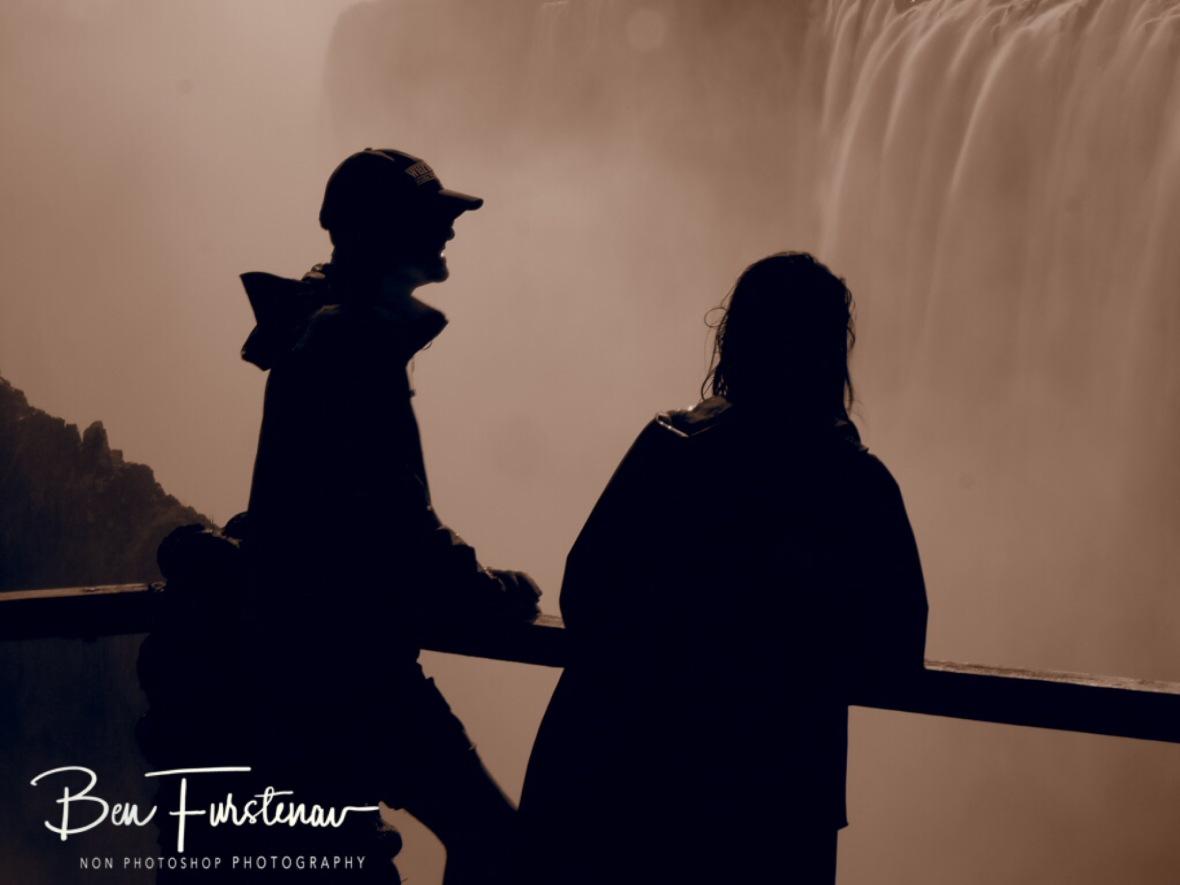 Tourist in oar, Victoria Falls, Zambia