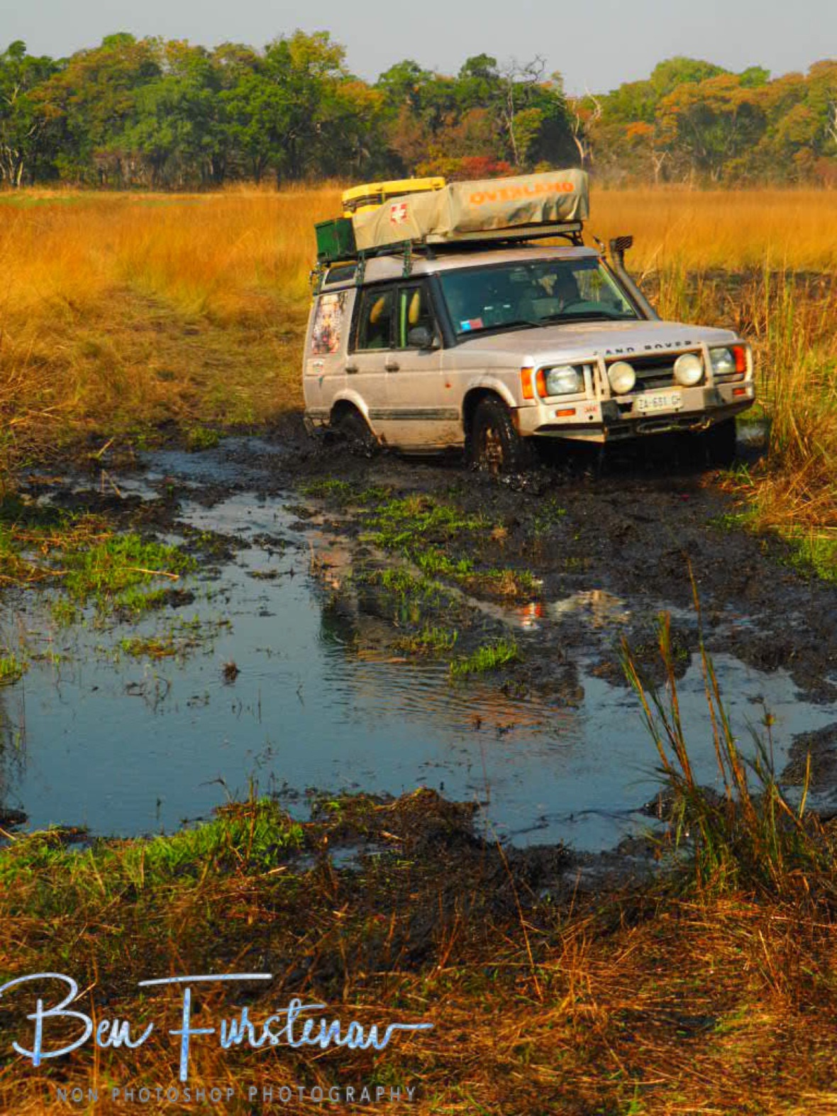 Jean Carlos Landrover battling mud in Liuwa Plains National Park, Zambia