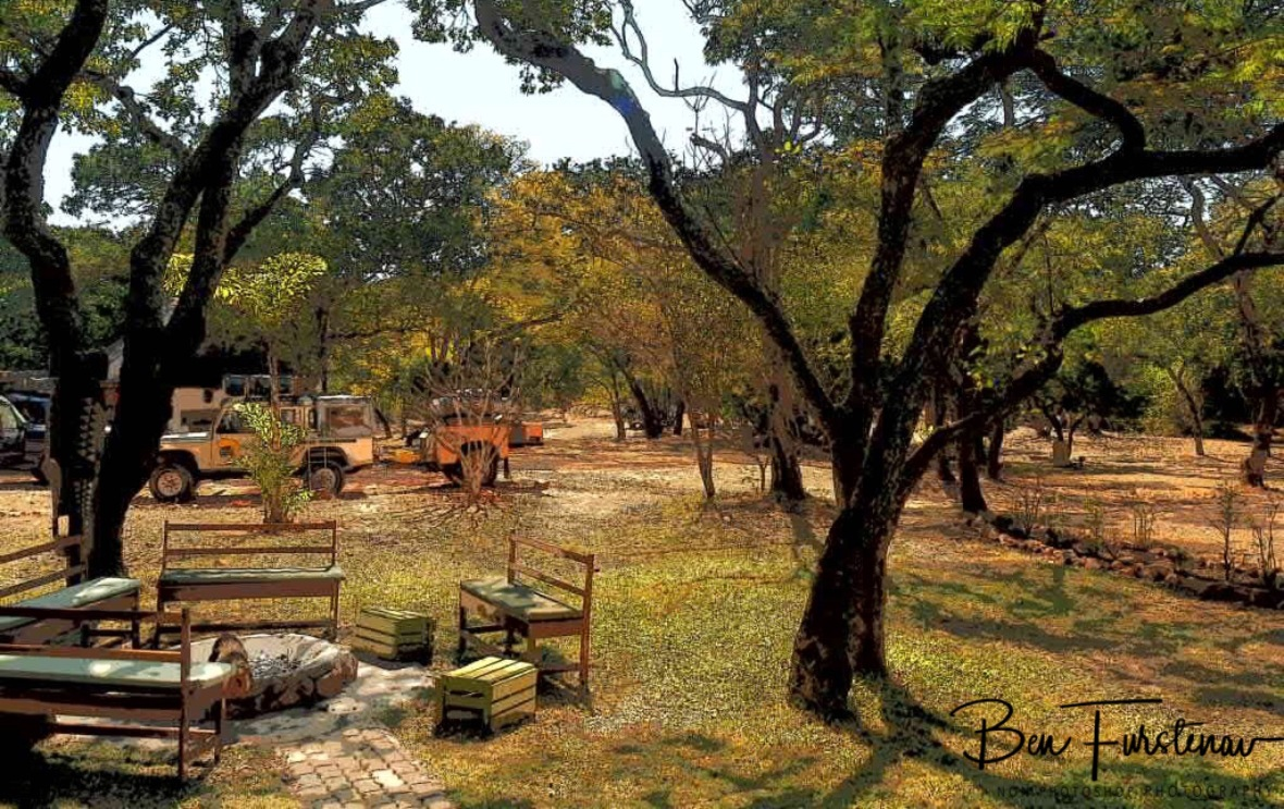 Bush TV and camping area, Pioneer Camp, Lusaka, Zambia
