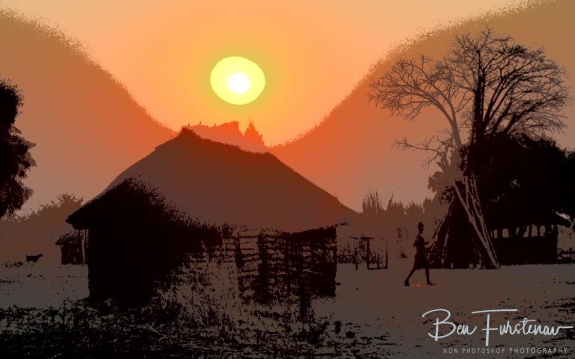 Sun is setting low near Lukulu, Zambia
