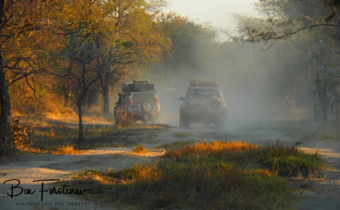 Following dust trails near Blue Lagoon National Park, Zambia