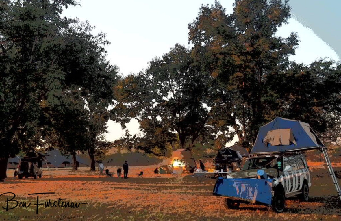 Early morning coffee at the bonfire, Blue Lagoon National Park, Zambia