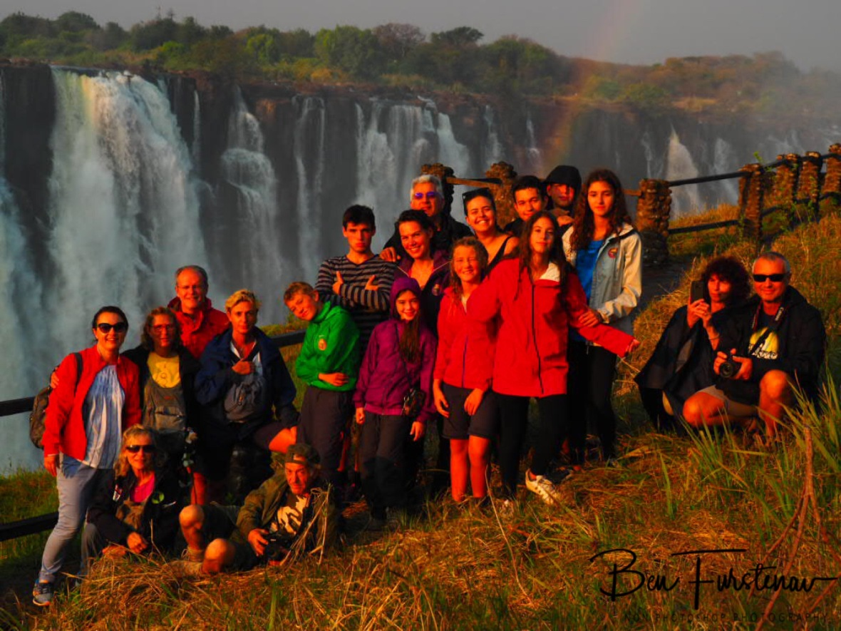 The whole Italian mafia combined under the rainbow at Victoria Falls, Zambia