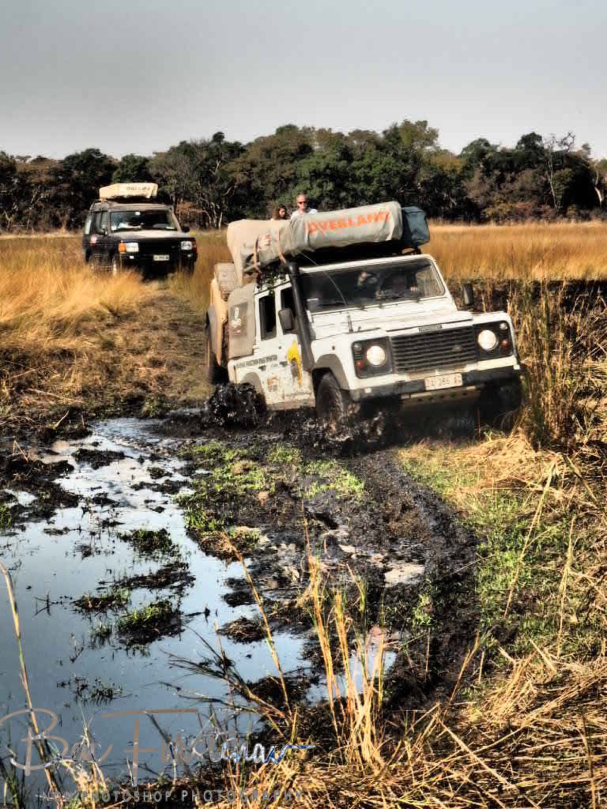 Claudio tackling a swampy area in Liuwa Plains National Park, Zambia