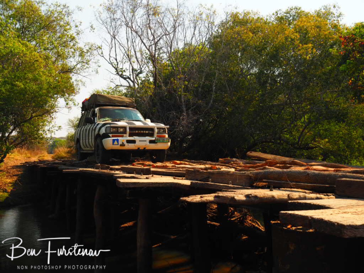 Handmade Bridge crossing, Kafue National Park , Zambia