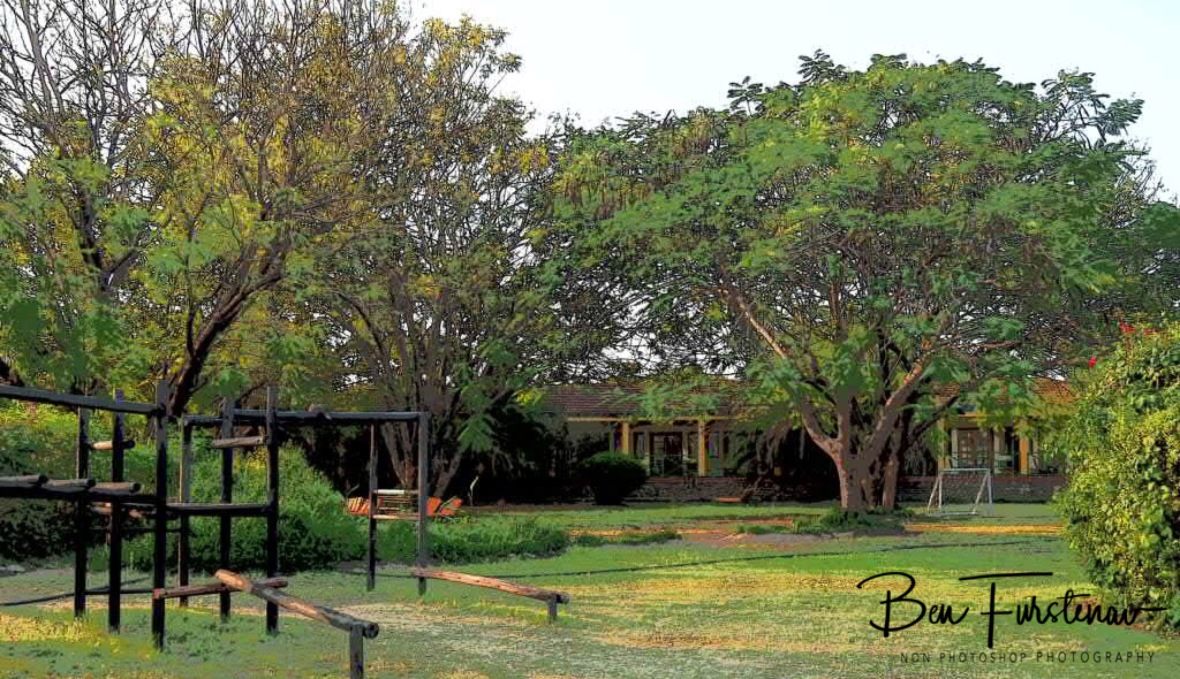 Playground and chalets at Riverside Hotel, Maun, Botswana