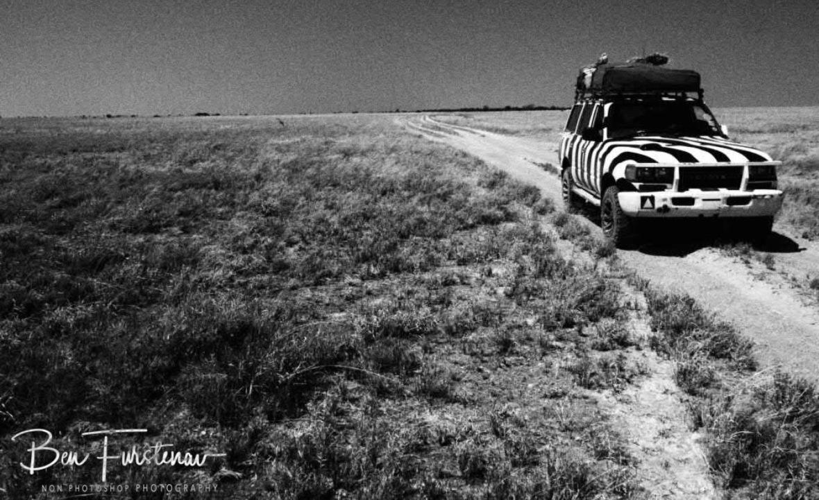 Slow going along Makgadikgadi Salt Pans, Botswana