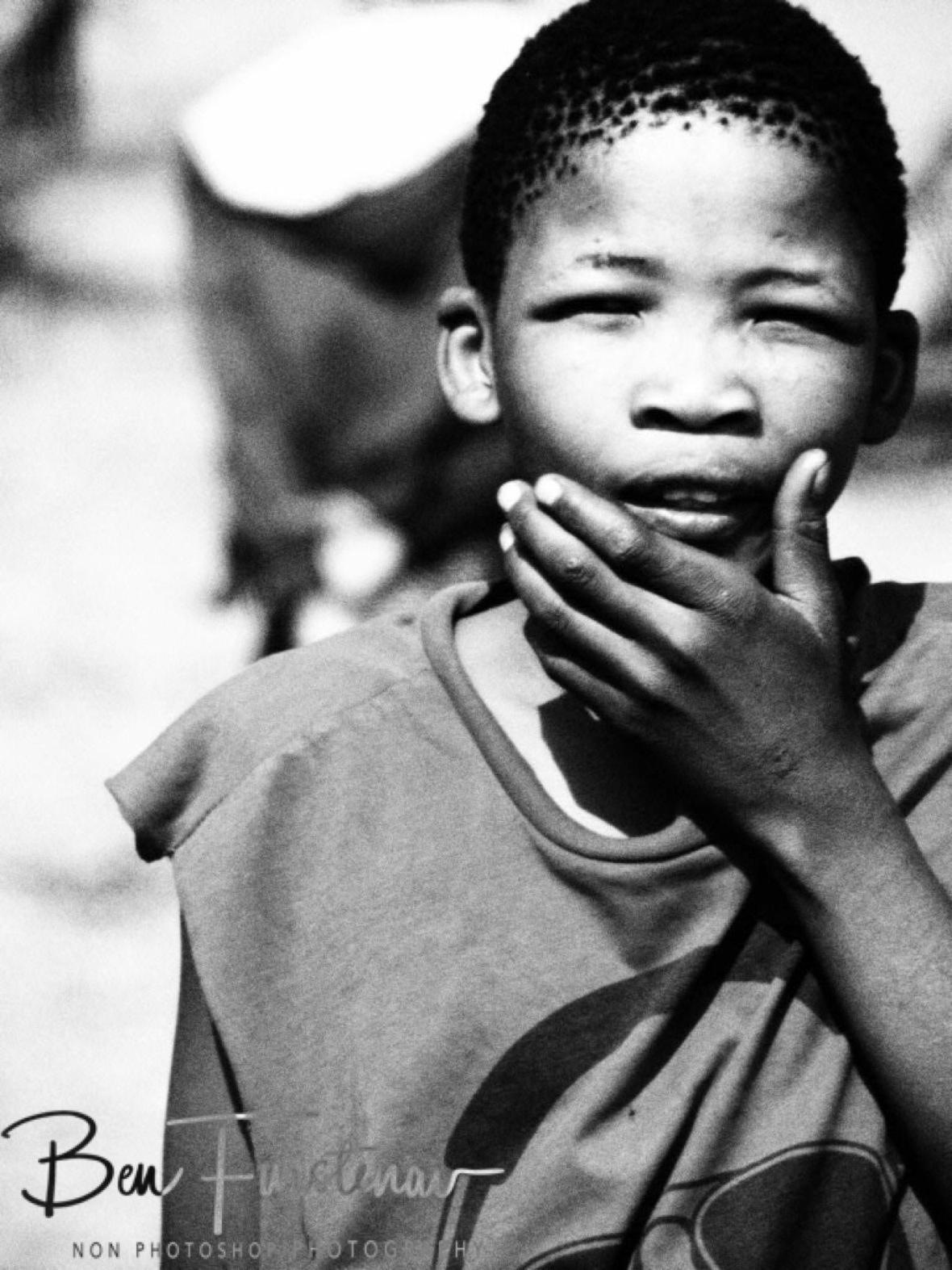 Confused San boy?, Kalahari desert, Botswana