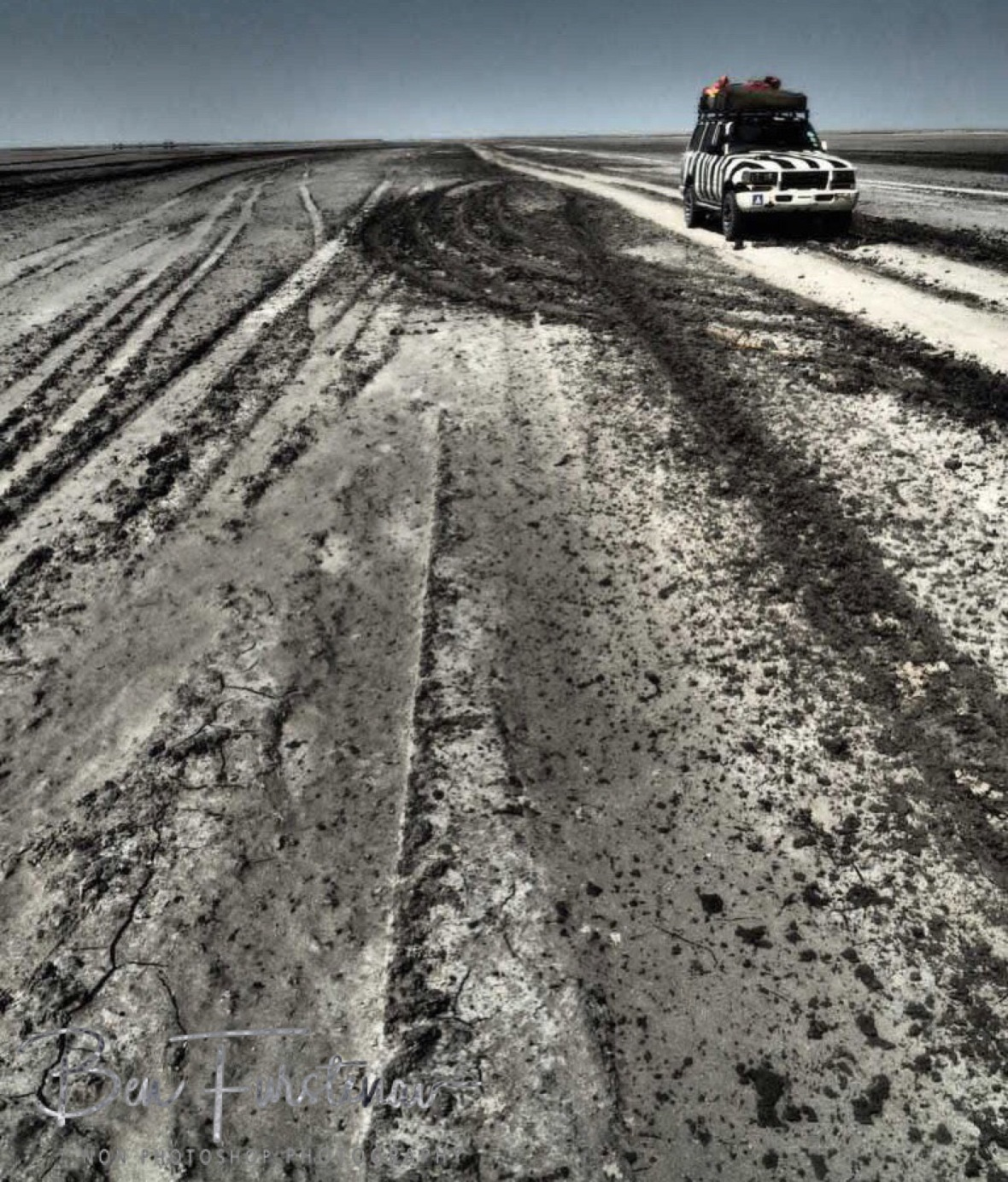 Zimba's mud bath, Makgadikgadi Salt Pans, Botswana