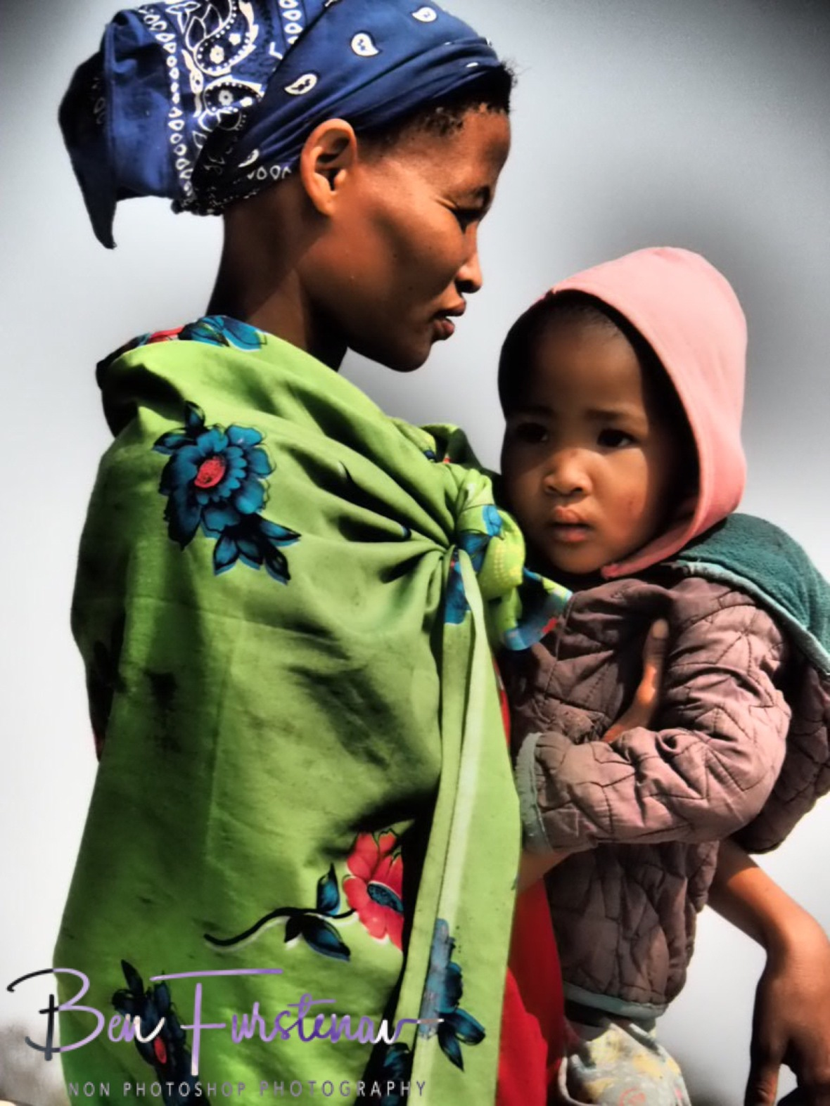 San Mother and child, Kalahari desert, Botswana