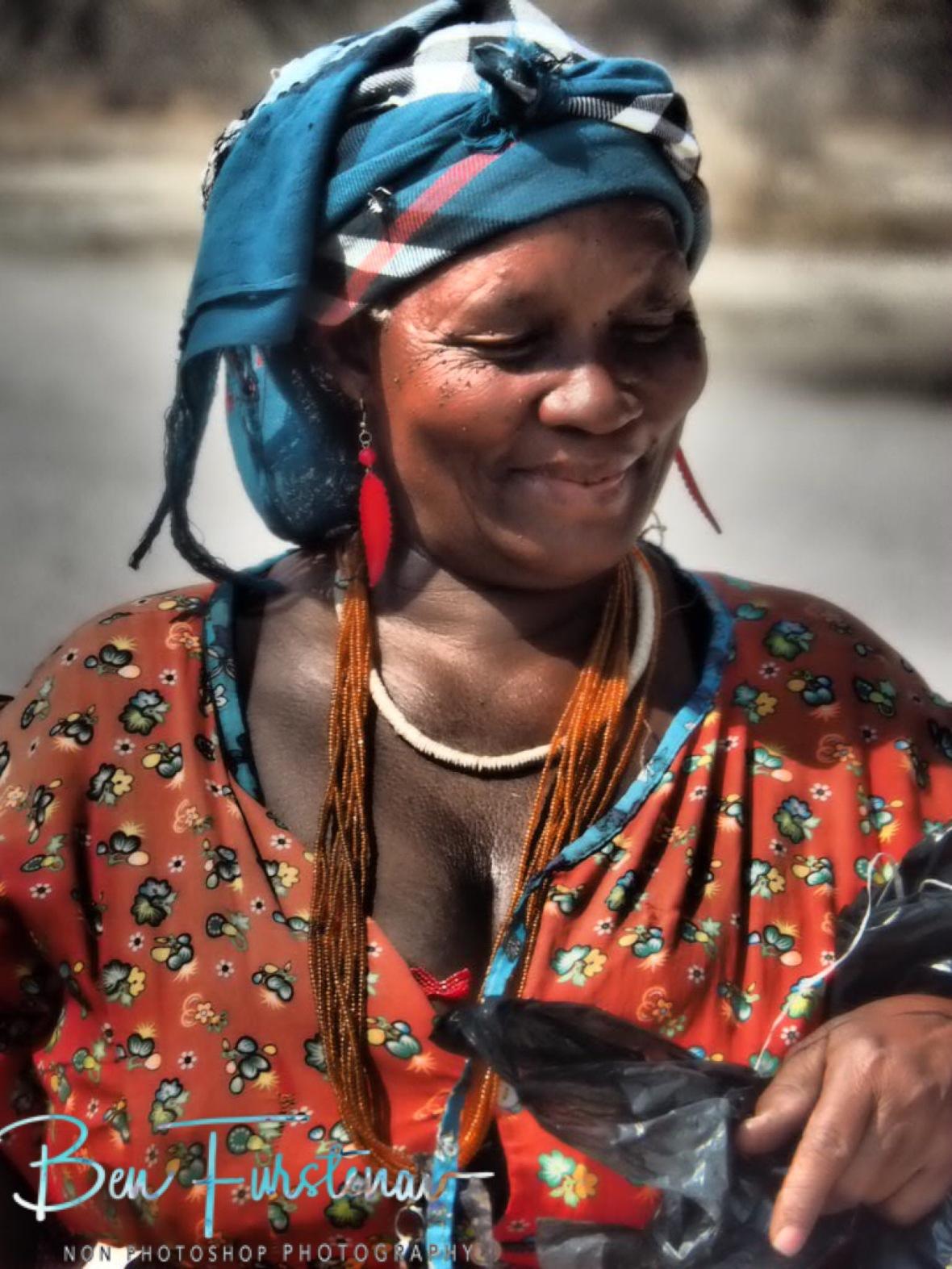 Selling jewellery, Kalahari desert, Botswana