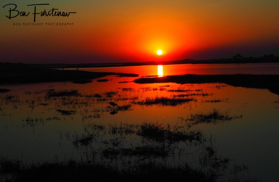 Orange sunset over the Chobe River, Chobe National Park, Botswana