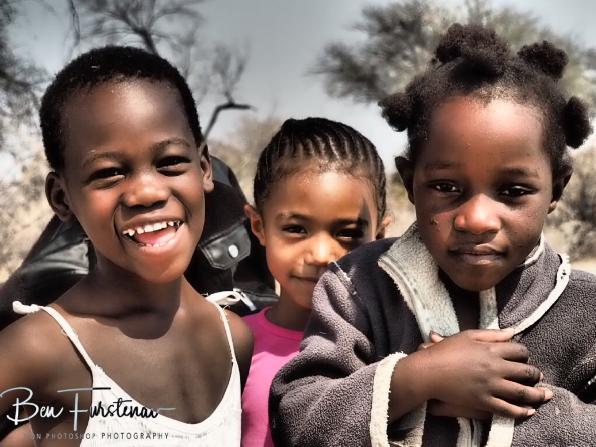 Happy innocent faces, Kalahari desert, Botswana