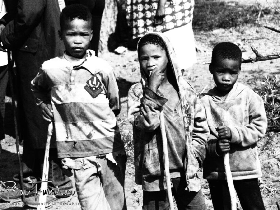 Anxious kids, Kalahari desert, Botswana