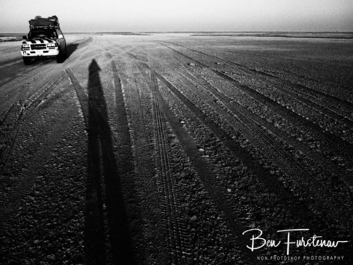 Driving on the moon, Makgadikgadi Salt Pans, Botswana