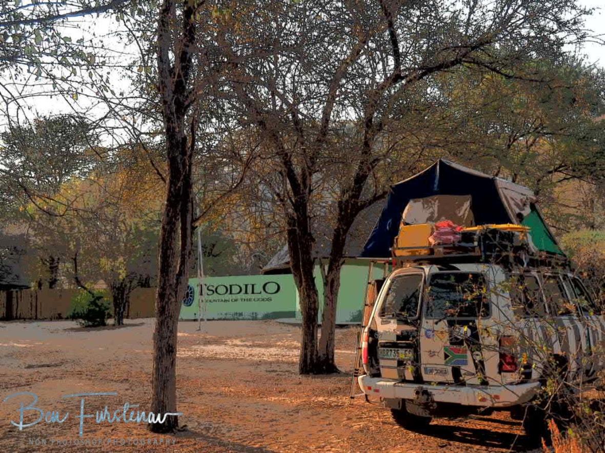 Parked on holy ground, at Tsolido Hills, Kalahari desert, Botswana