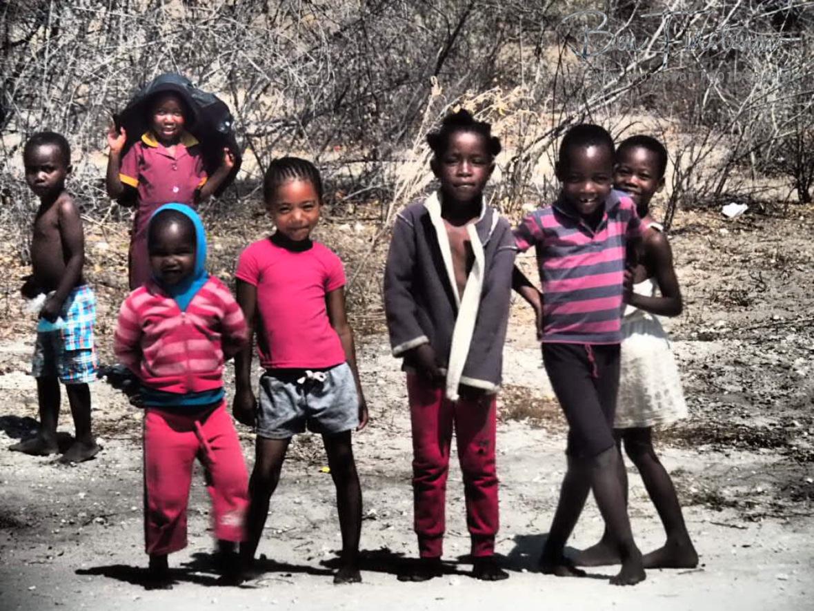 Uncertain and a bit anxious, Kalahari desert kids, Botswana