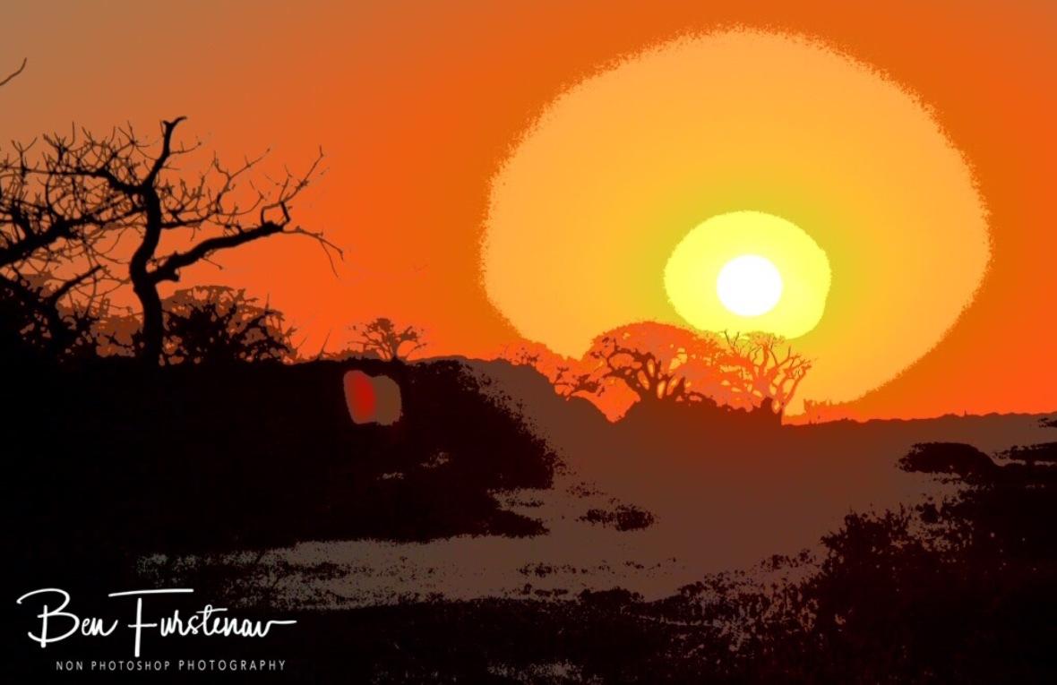 Sunset at Kubu Island, Makgadikgadi Salt Pans, Botswana