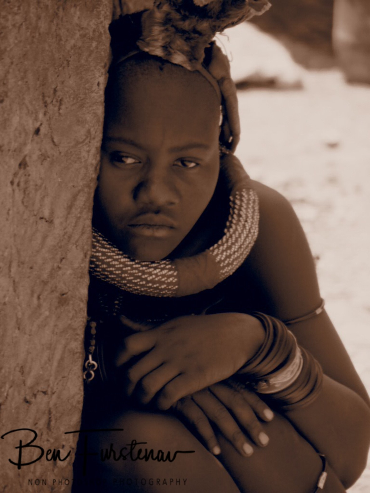 Thoughtful or worried?, Omusaona Himba Village, Kamanjab, Namibia