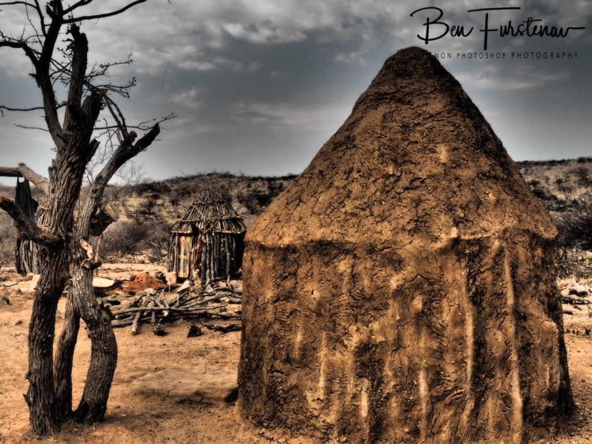 New huts are built st Omusaona Himba Village, Kamanjab, Namibia