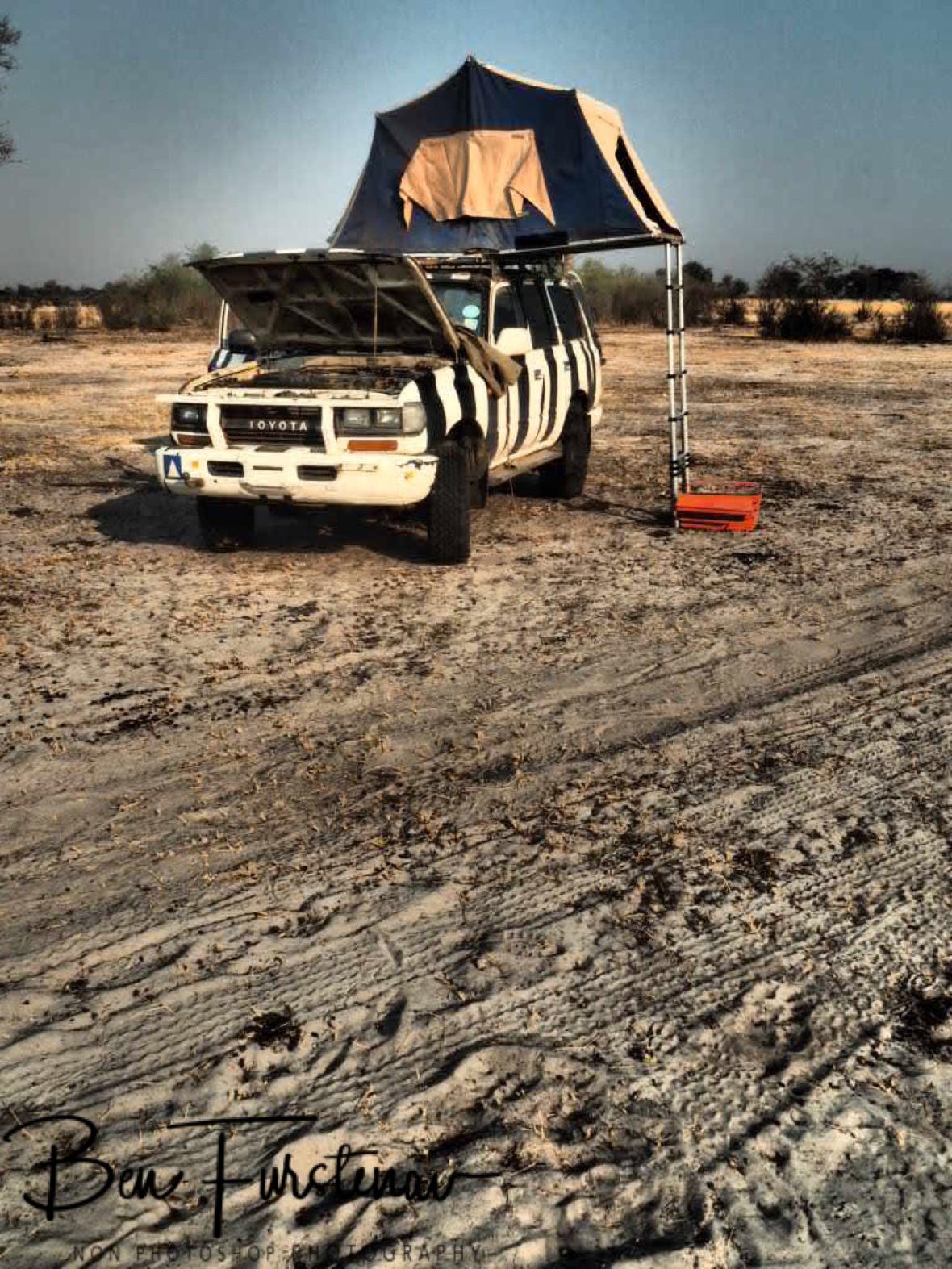 Early morning setup, Khaudum National Park, Namibia