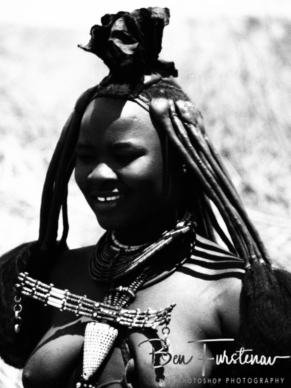 Horns on the head, Omusaona Himba Village, Kamanjab, Namibia