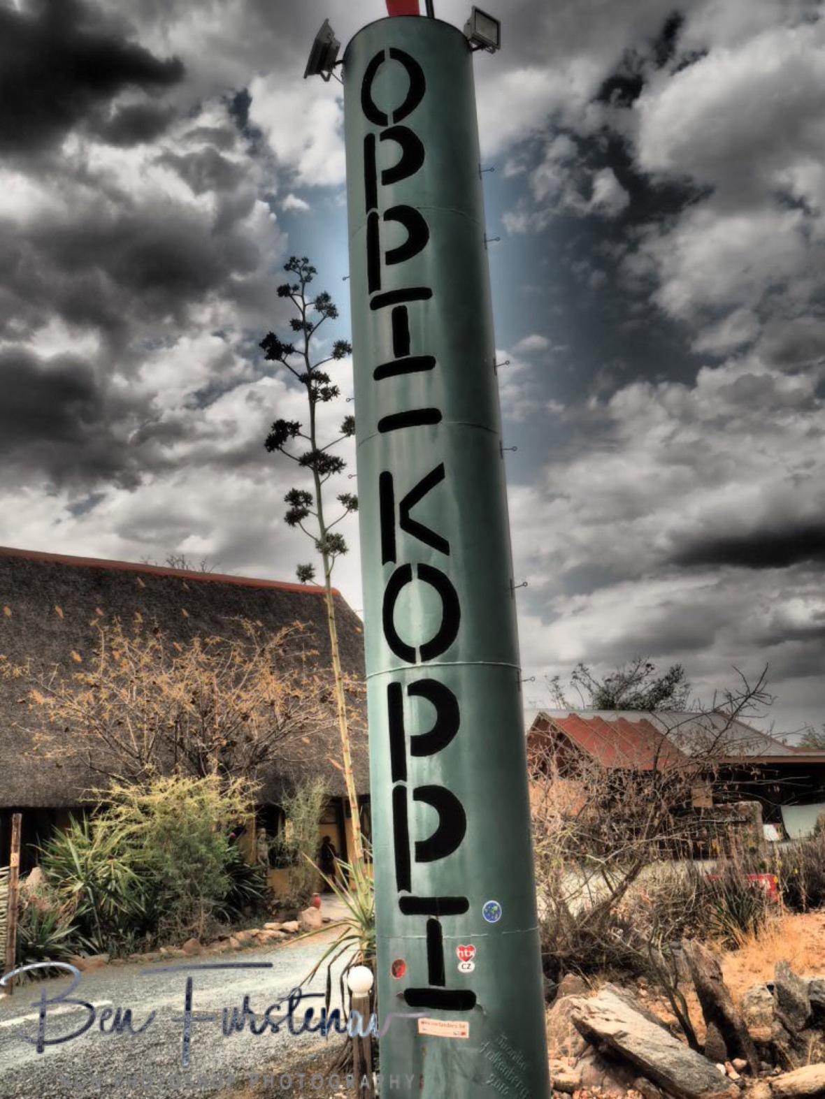 Can't miss the sign for Oppi Koppi, Kamanjab, Namibia