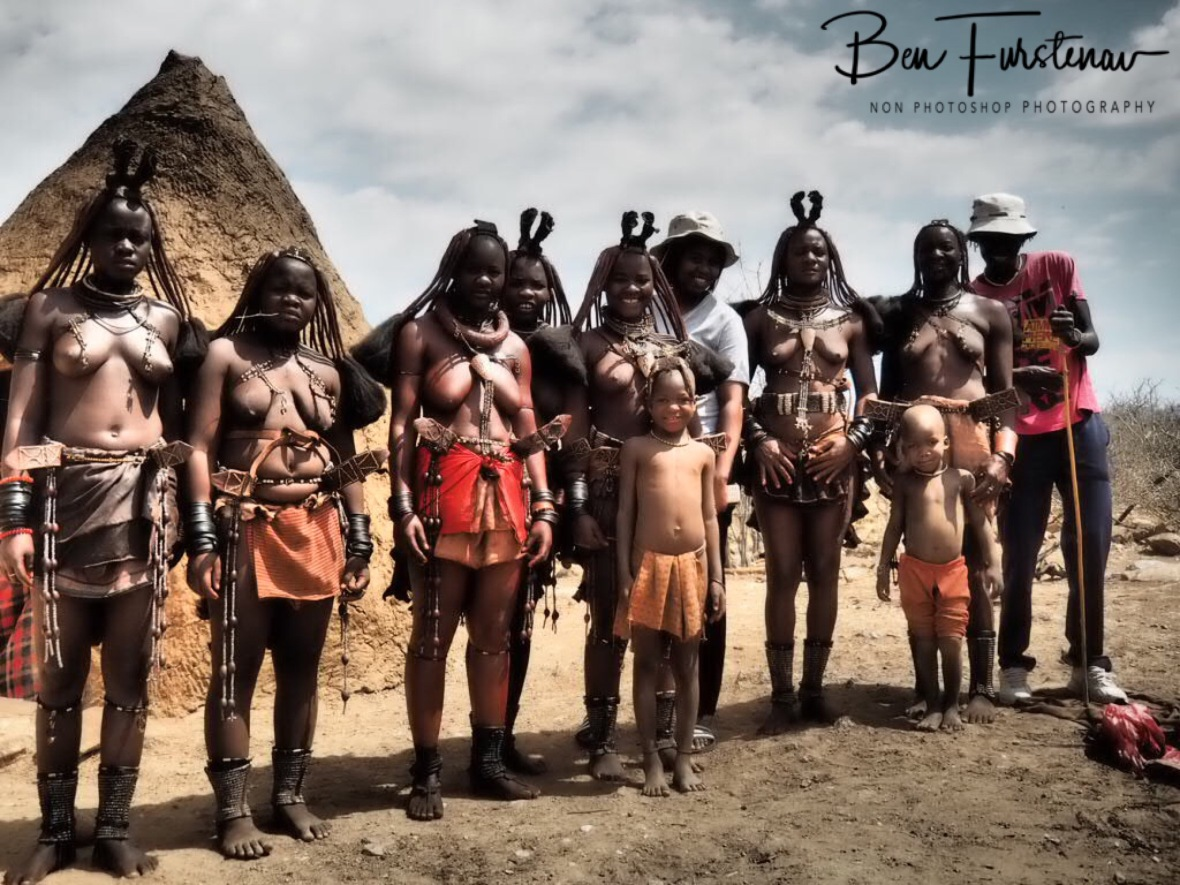 Traditional and modern Himba group photo, Omusaona Himba Village, Kamanjab, Namibia