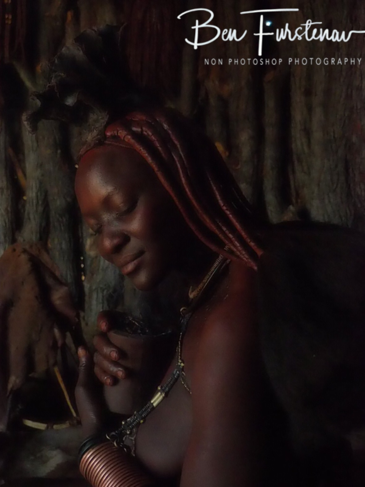 Smoked in to dreamland, Omusaona Himba Village, Kamanjab, Namibia