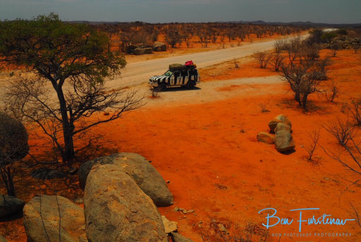 Zimba on red sand surrounded by boulders, Groote Berge, Kaokoveld, Namibia