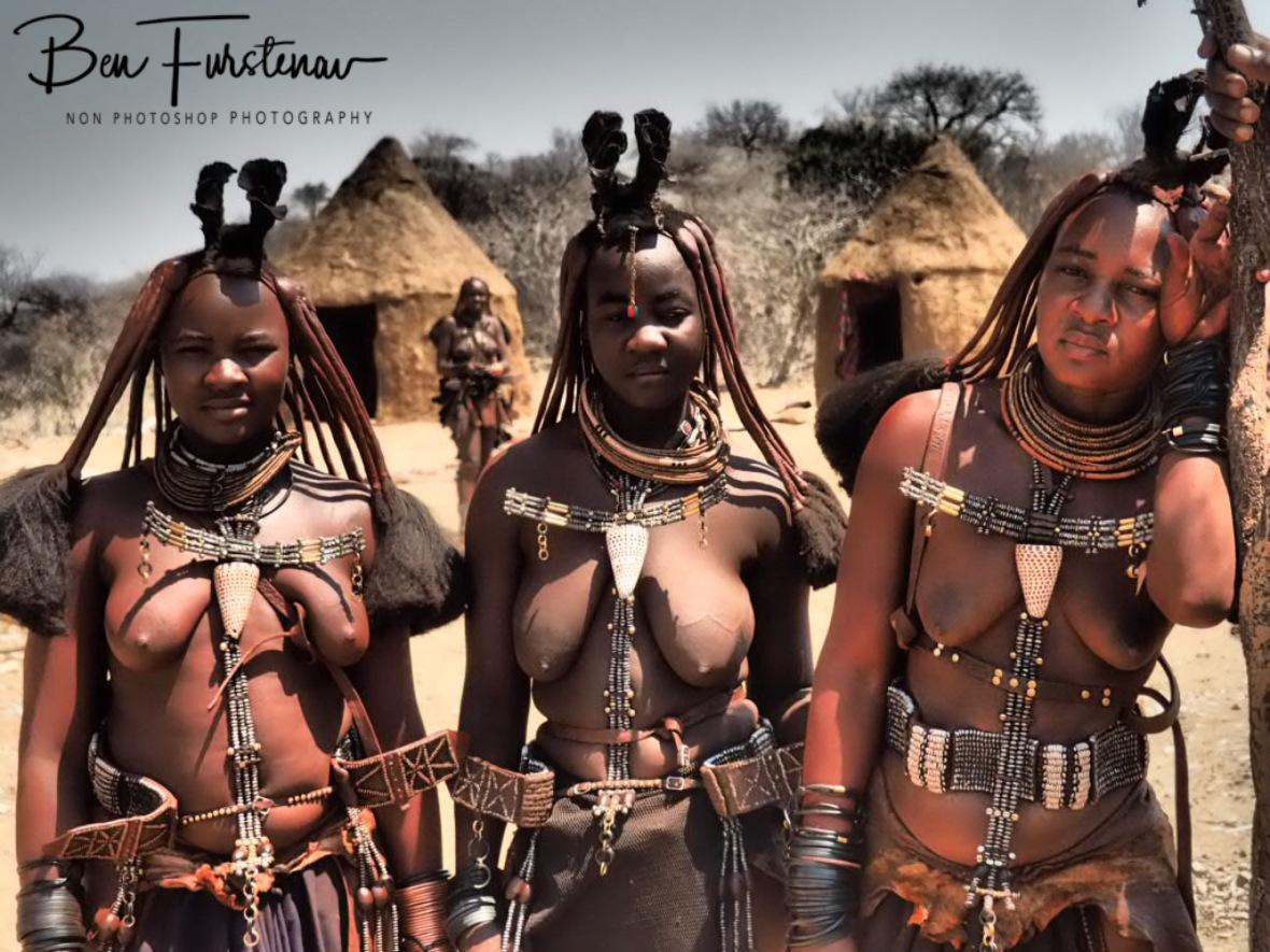 Leather dress, Omusaona Himba Village, Kamanjab, Namibia