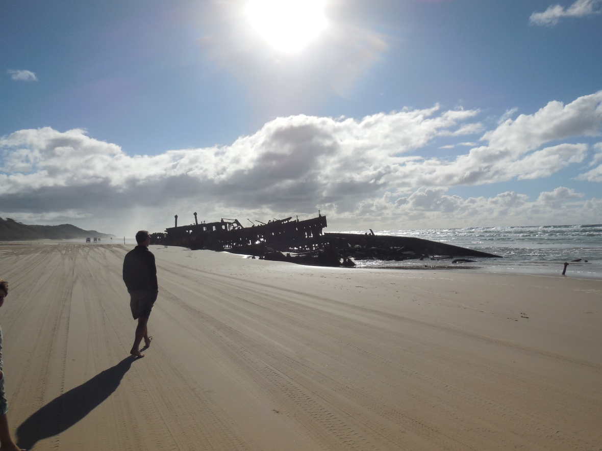 90 mile beach at the 'Maheno' shipwreck, Fraser Island, Queensland, Australia