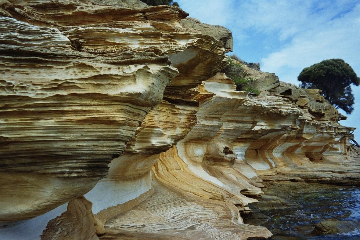 Painted cliffs on Maria Island, Tasmania, Australia