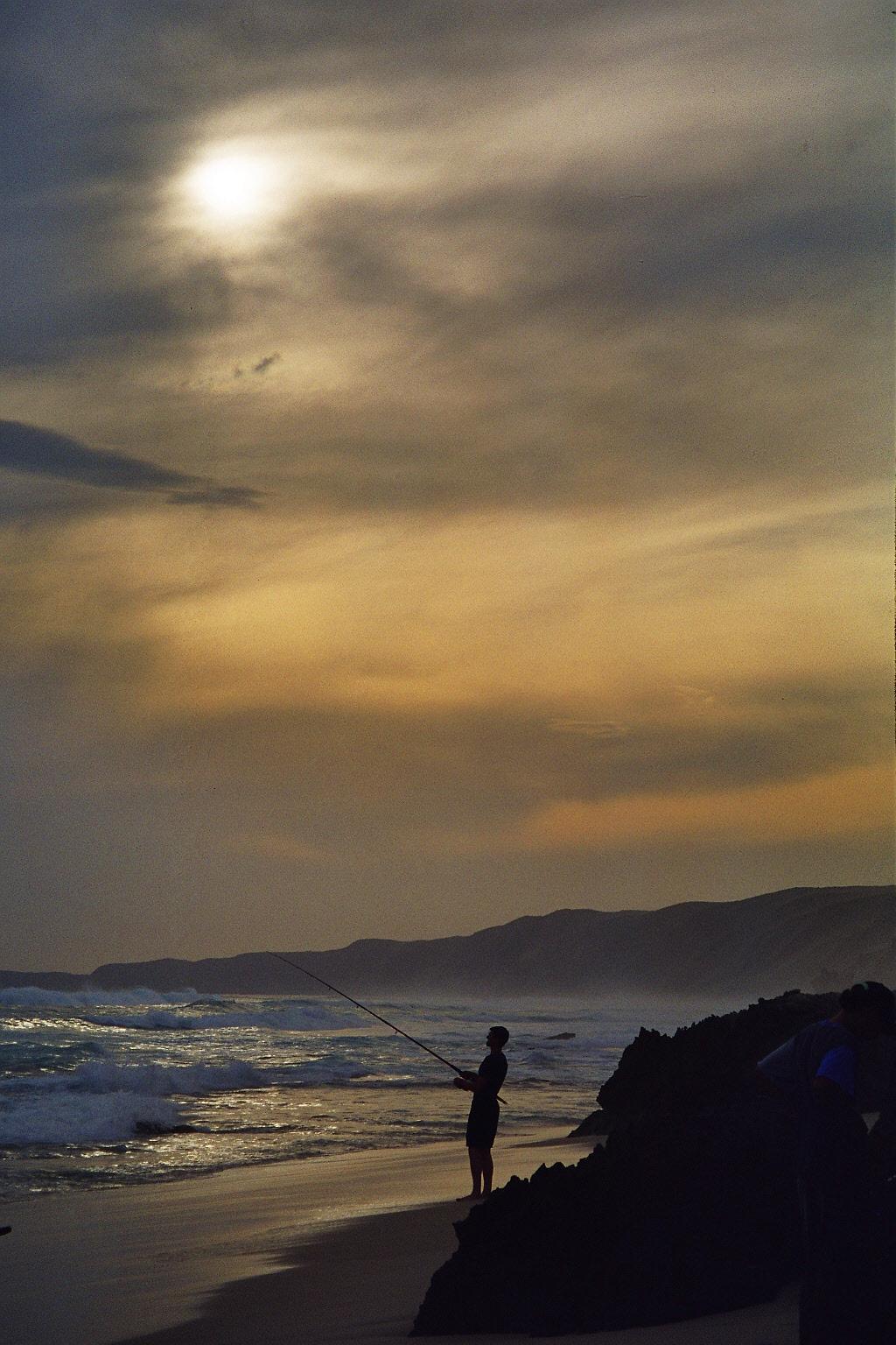 Sunset fishing for Australien salmon on pristine beaches, Albany, Western Australia, Australia