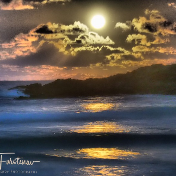 Almost full moon rising over Diggers Beach, New South Wales, Australia