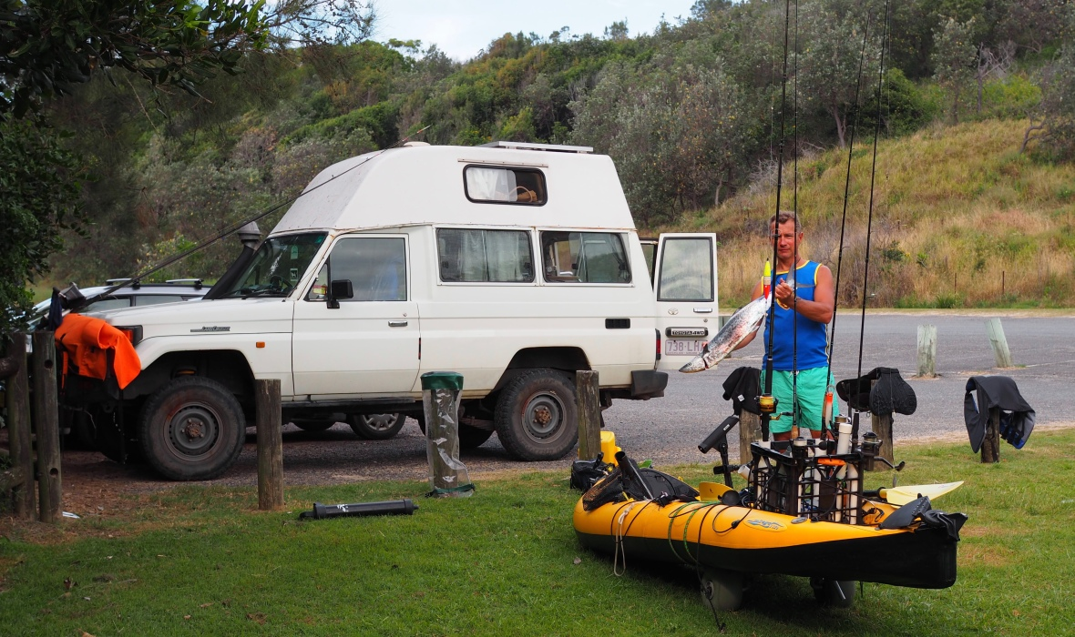 A successful return to camp, Diggers Beach, New South Wales, Australia