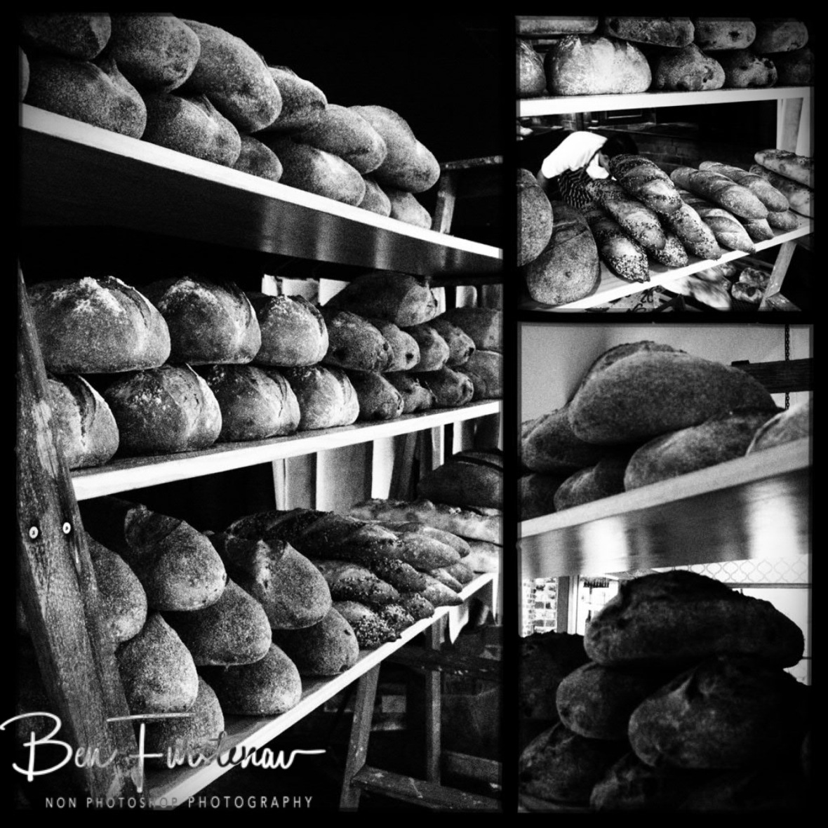 Sourdough bread selection on wooden planks, Newrybar, New South Wales, Australia