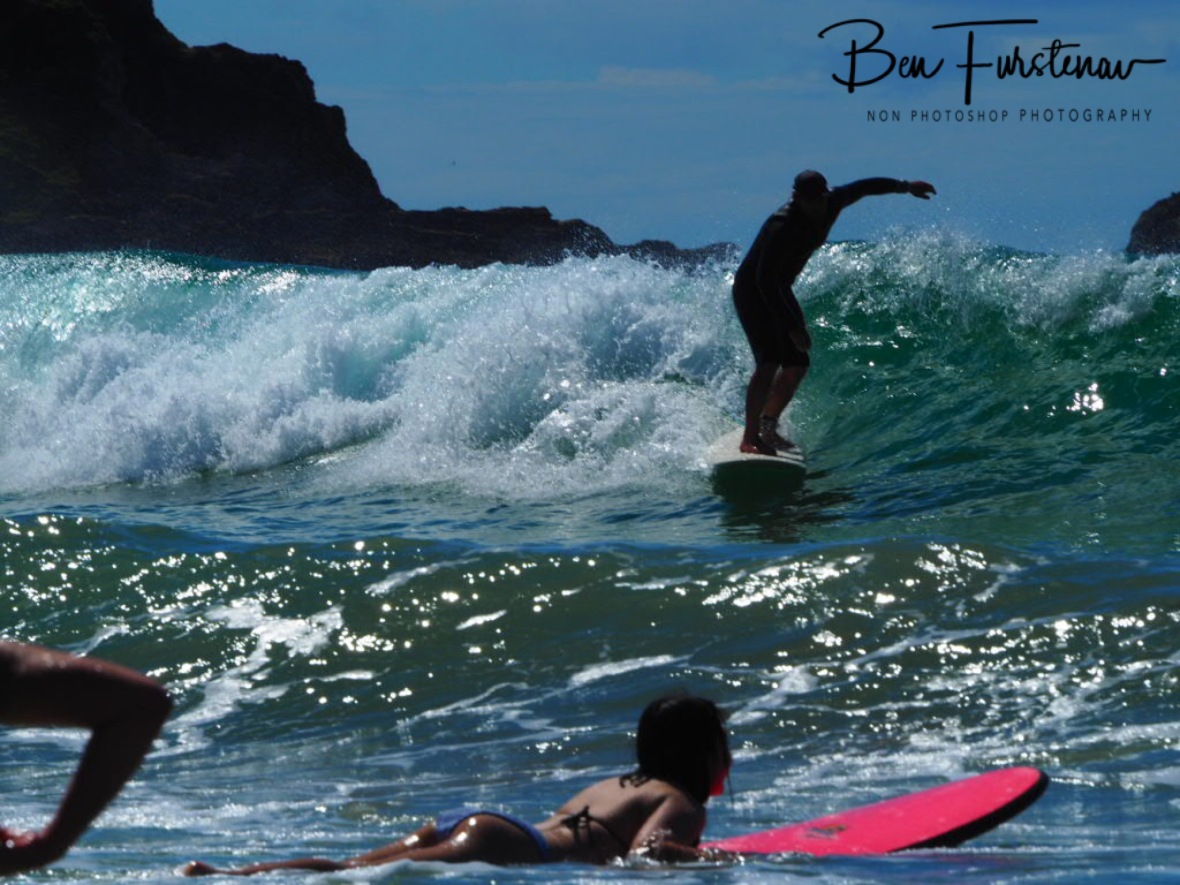 Surf traffic at Diggers Beach, New South Wales, Australia