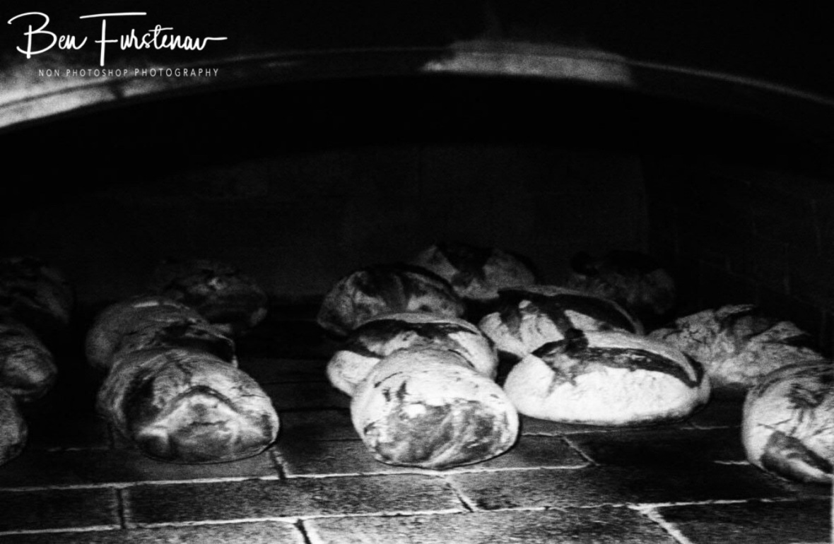 Rye bread and Ciabatta bread baking in the wood fired oven at Harvest Cafe, Newrybar, New South Wales, Australia
