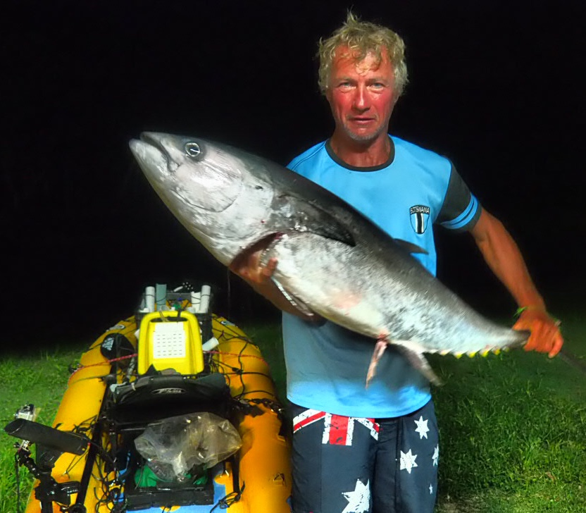 A very heavy Longtail Tuna at Diggers Beach, New South Wales, Australia