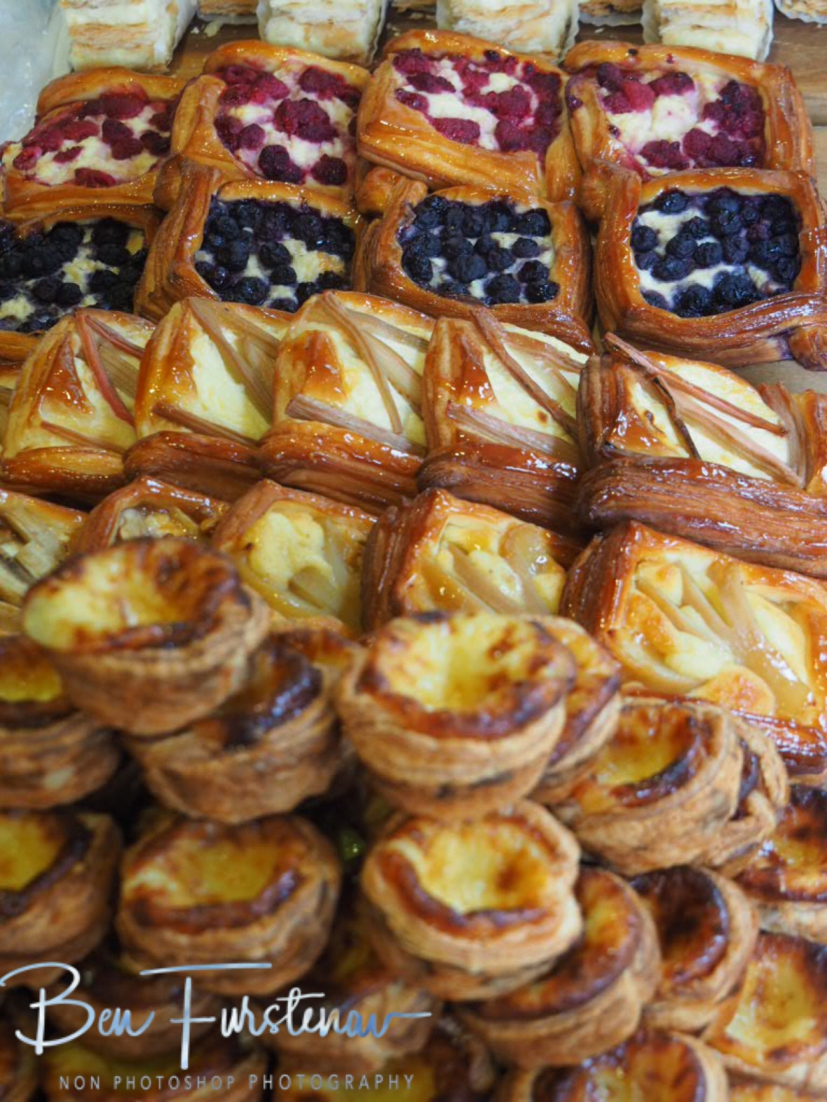Pastry selection on market display, Newrybar, New South Wales, Australia