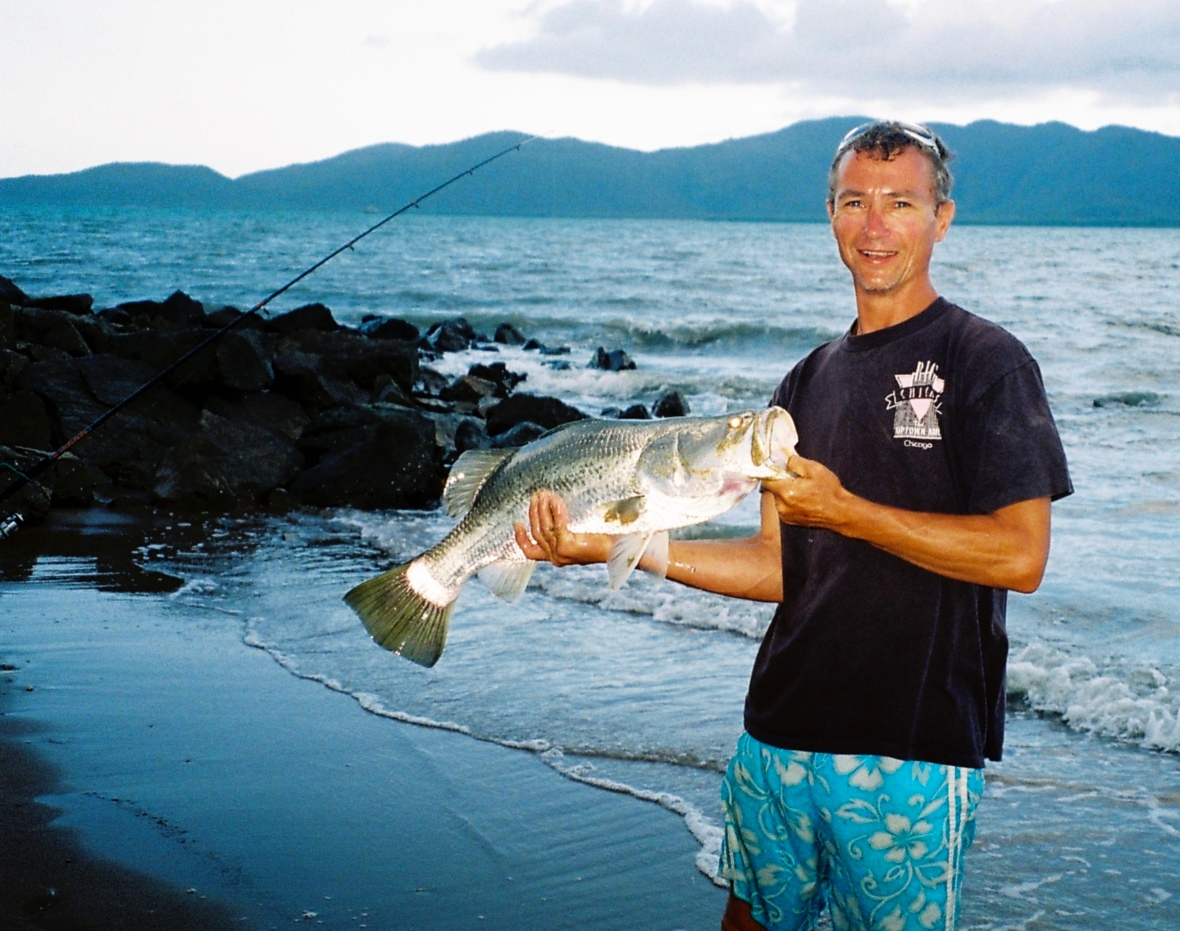 A decent Barramundi caught and released of Beach in Townsville, Queensland, Australia