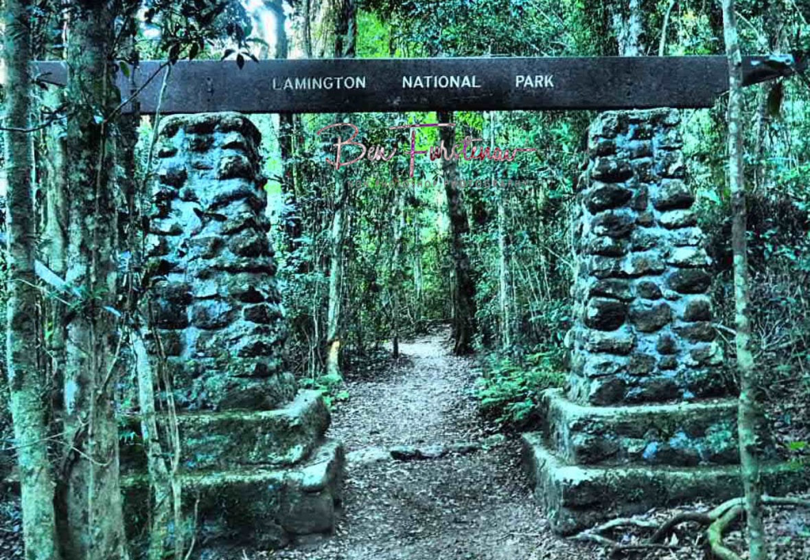 Erected in the 1960'ies, millions of visitors passed this gate at Lamington National Park, Queensland, Australia
