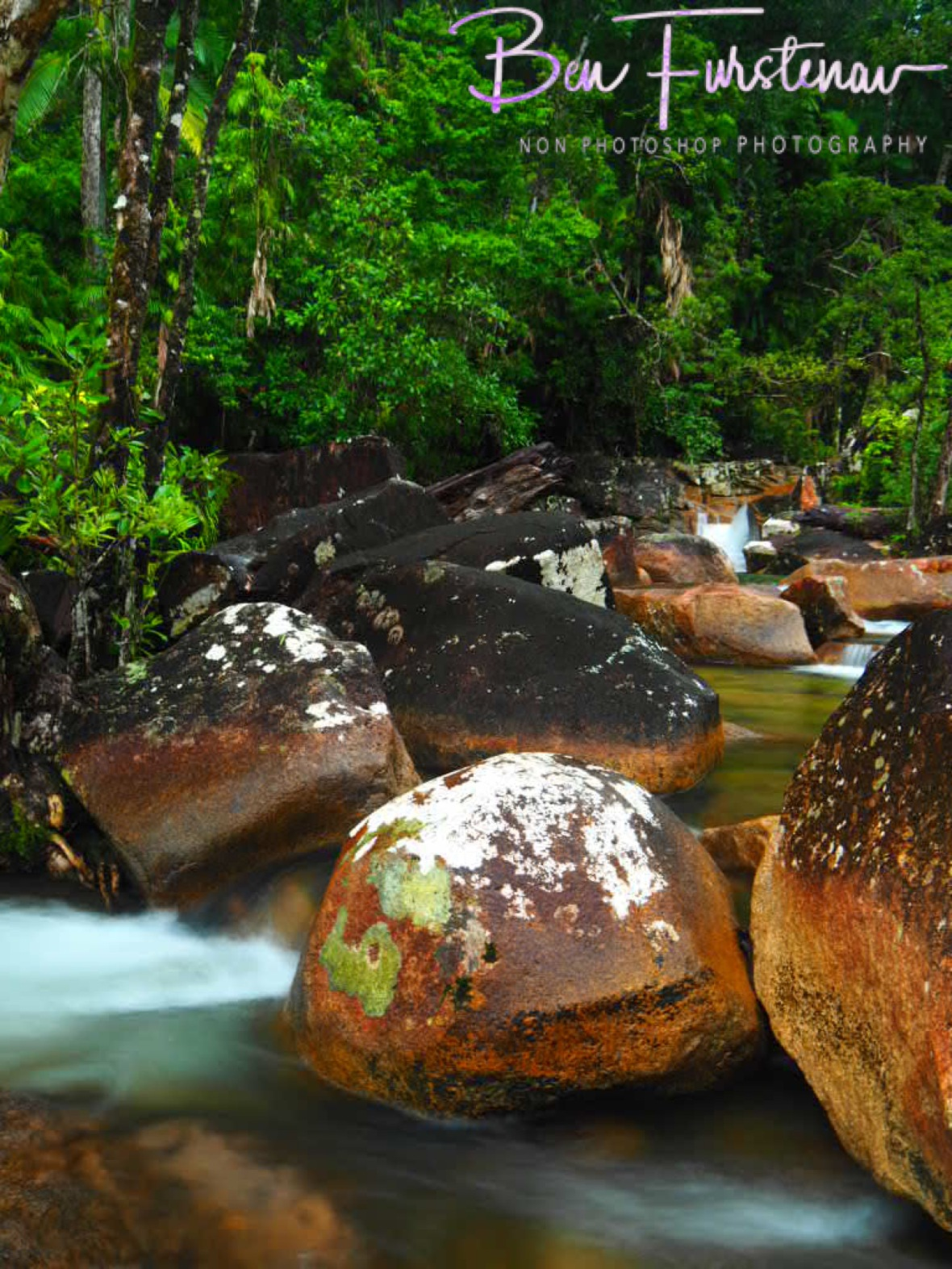 Colourful boulders at Finch Hatton Gorge, Eungalla National Park, Queensland, Australia