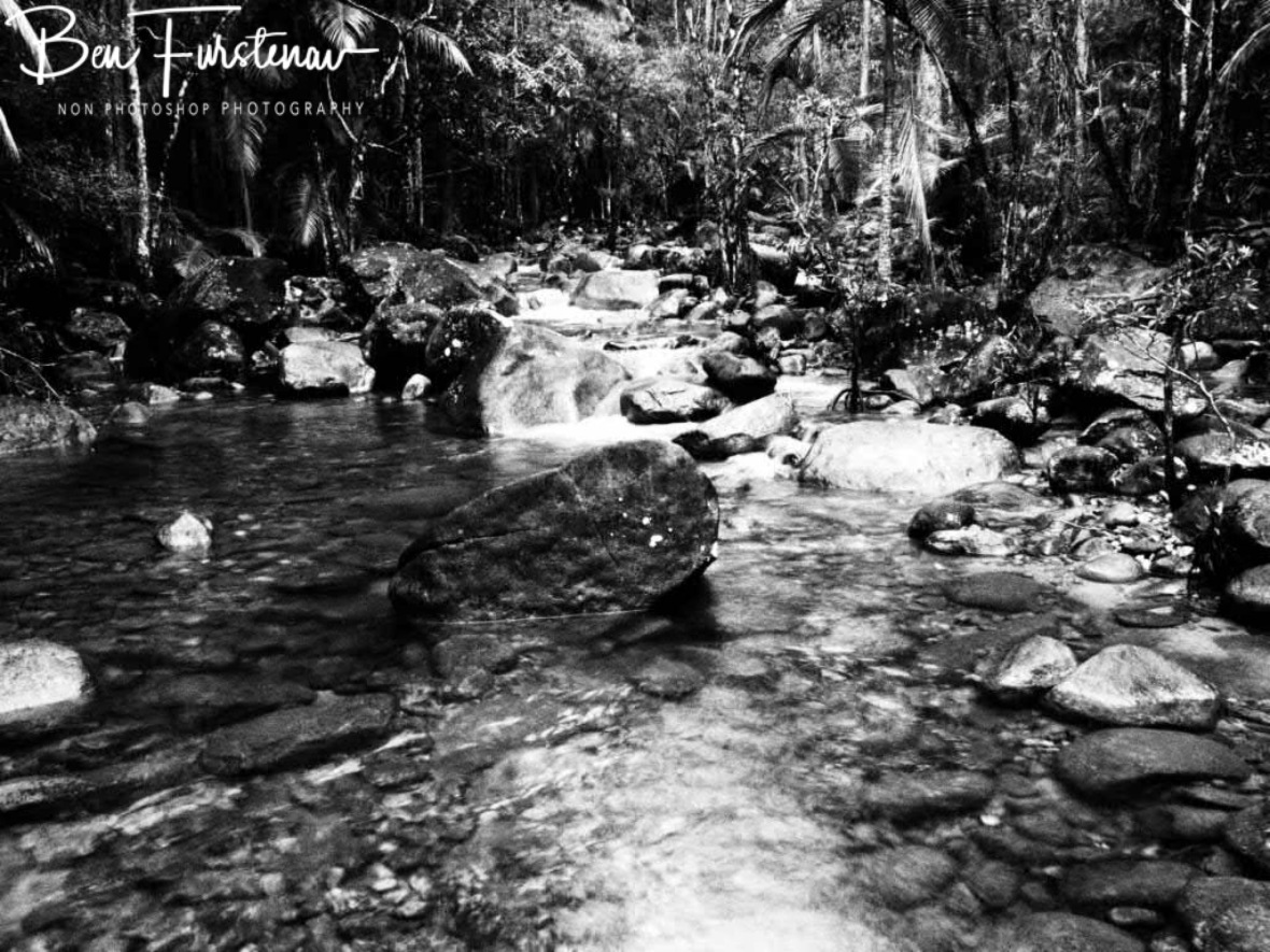 Finch Hatton Creek in black and white, Eungalla National Park, Queensland, Australia