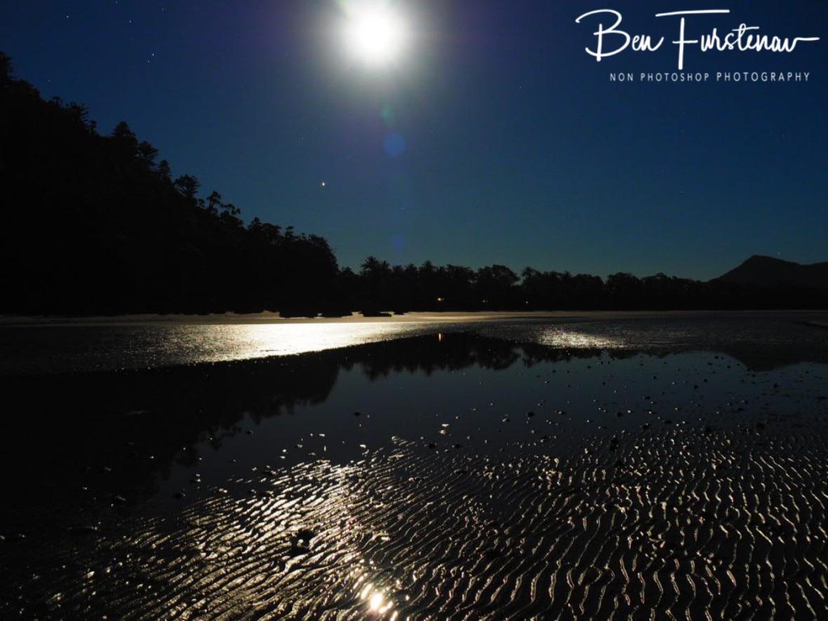 Moonlight reflections at Cape Hillsborough, Queensland, Australia