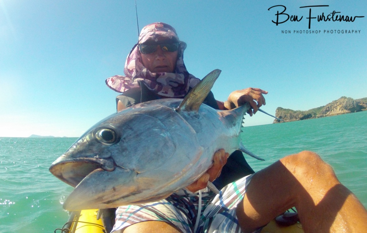 Exhausted happy tuna faces from us both at Cape Hillsborough, Queensland, Australia