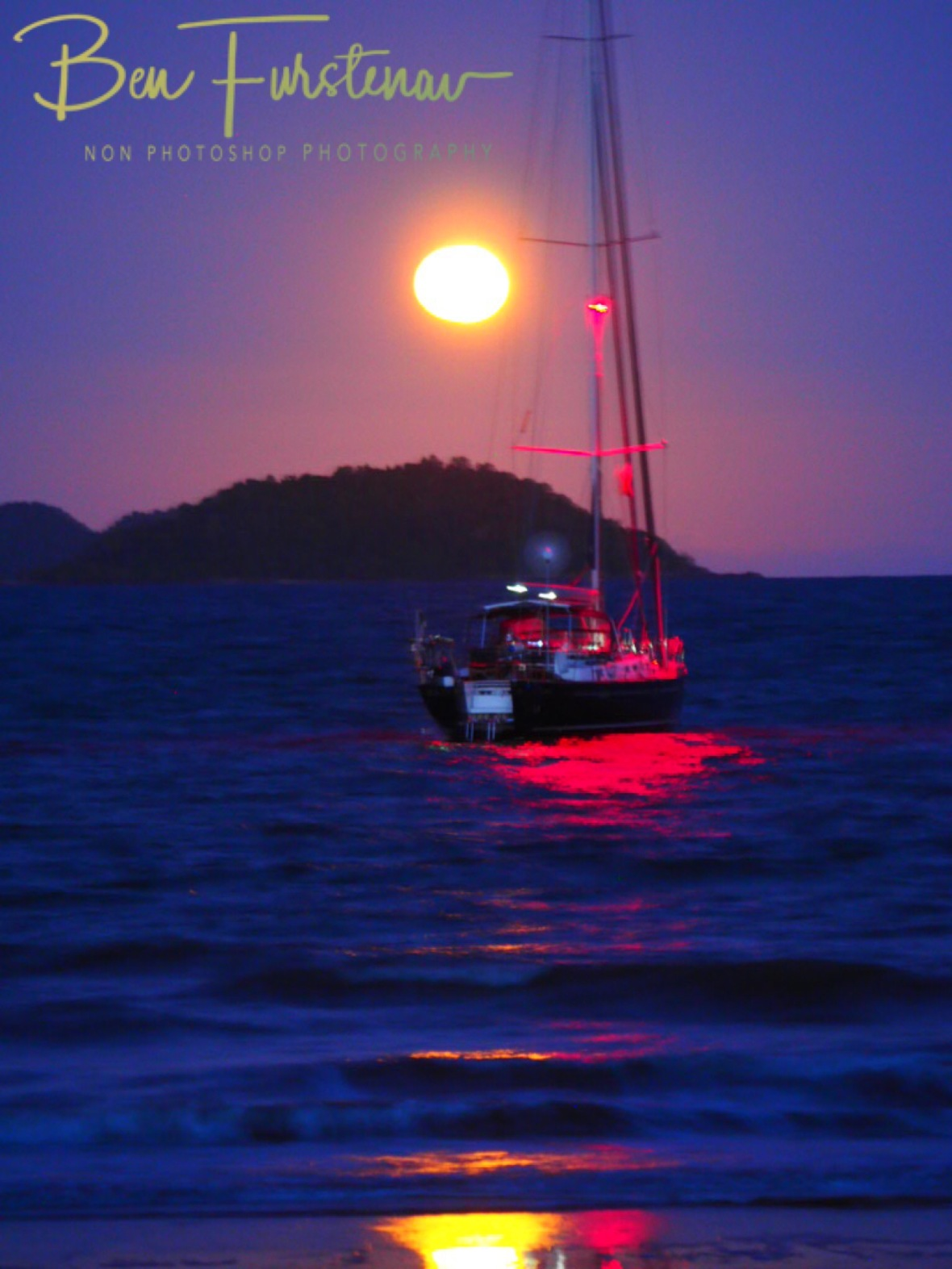 Yacht and full moon at Mission Beach, Tropical Queensland, Australia