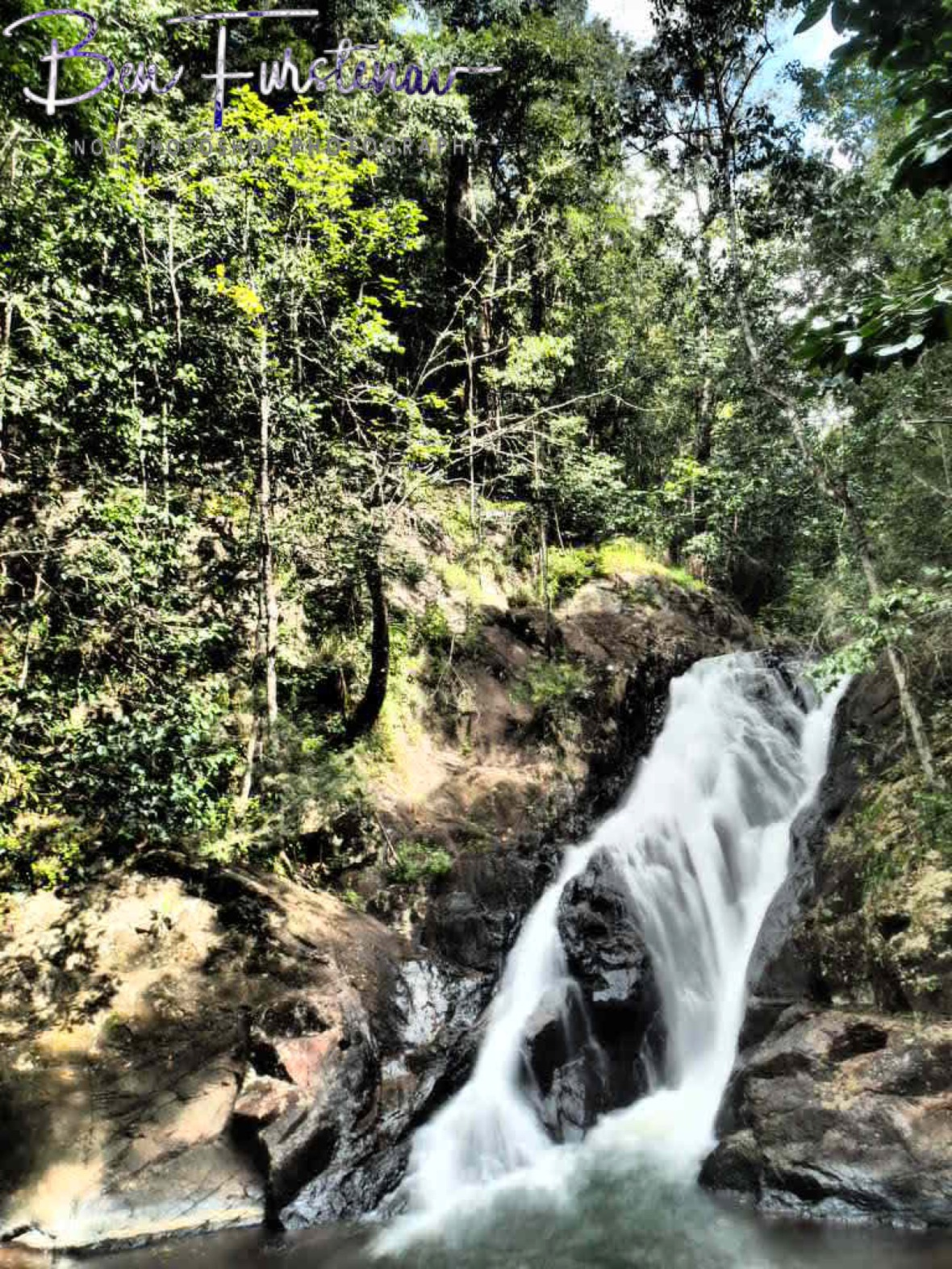 Waterfall on the knife's edge in Atherton Tablelands, Far North Queensland, Australia
