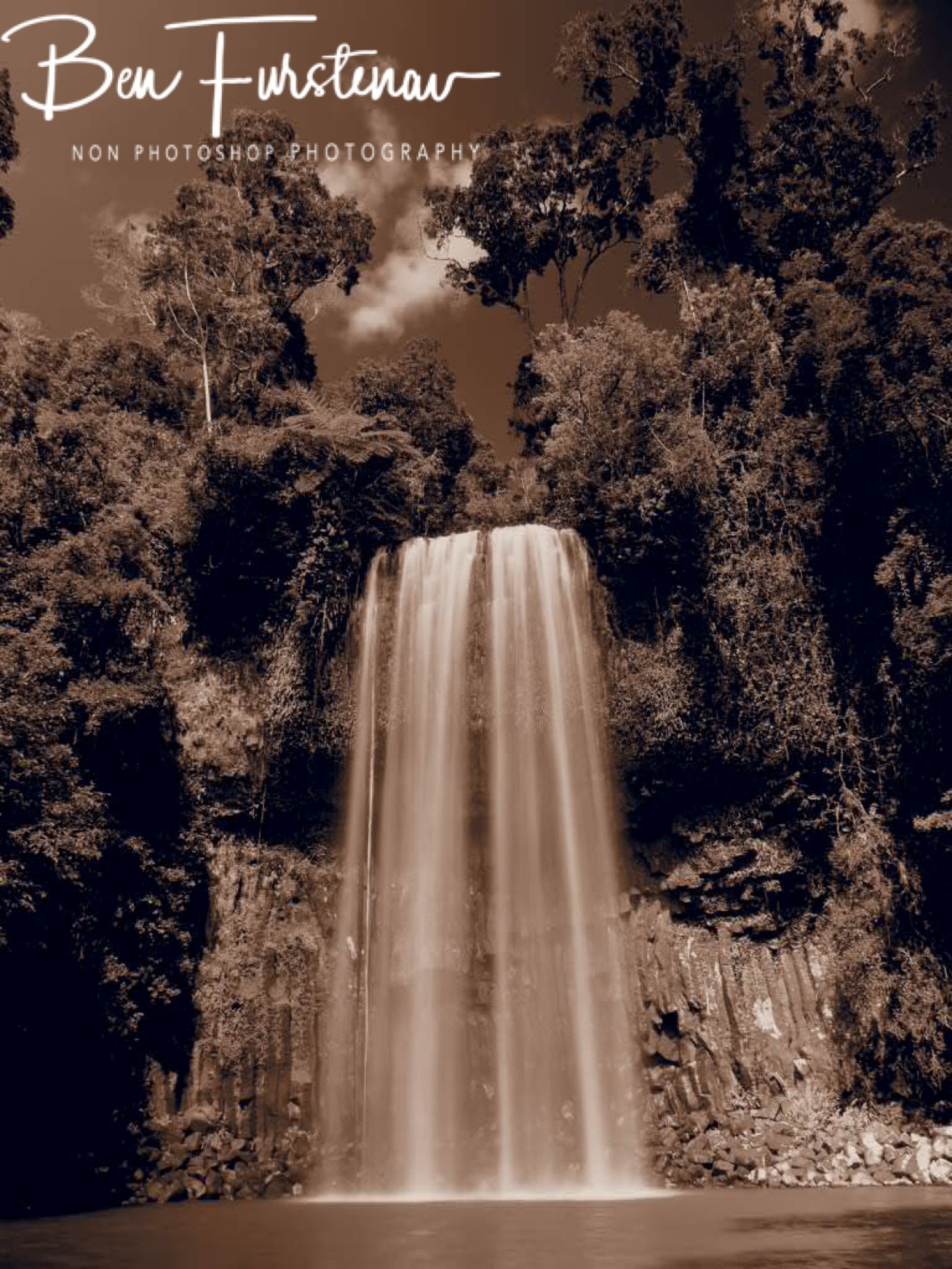 Millaa Millaa Falls in sepia, Atherton Tablelands, Far North Queensland, Australia